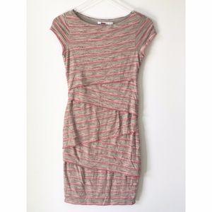 Bailey 44 Striped Short Sleeve Bandage Dress Small